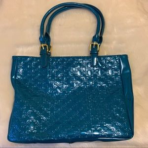 Turquoise With Gold Zipper Satchel. NWT
